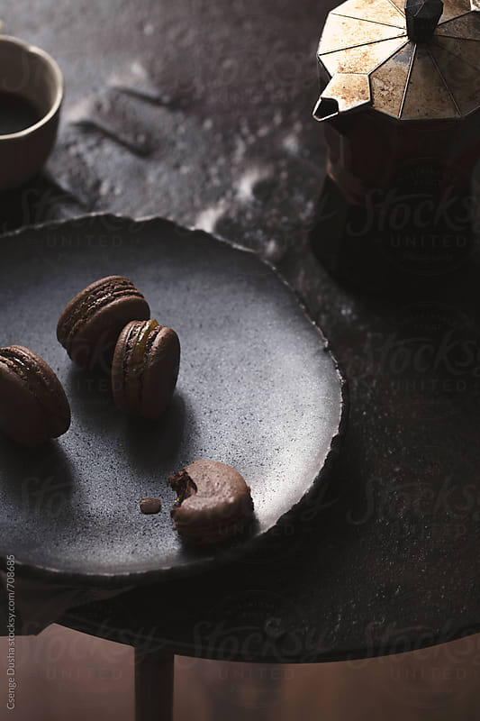 Cocoa nib macarons by Csenge Dusha for Stocksy United