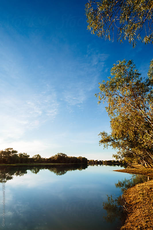 an oasis in the desert, idyllic creek in outback Australia by Gillian Vann for Stocksy United