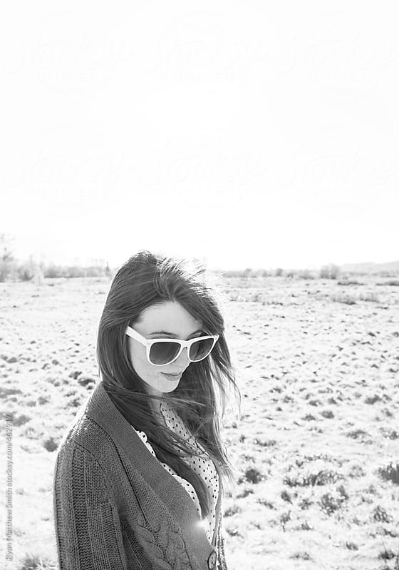 Long Haired Girl, Summer Sunglasses by Ryan Matthew Smith for Stocksy United