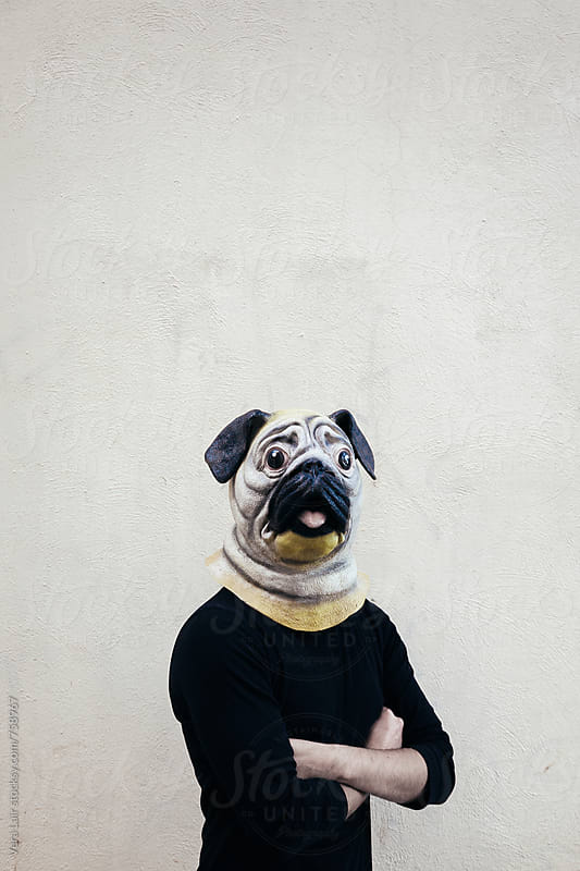 A man with a dog mask by Vera Lair for Stocksy United