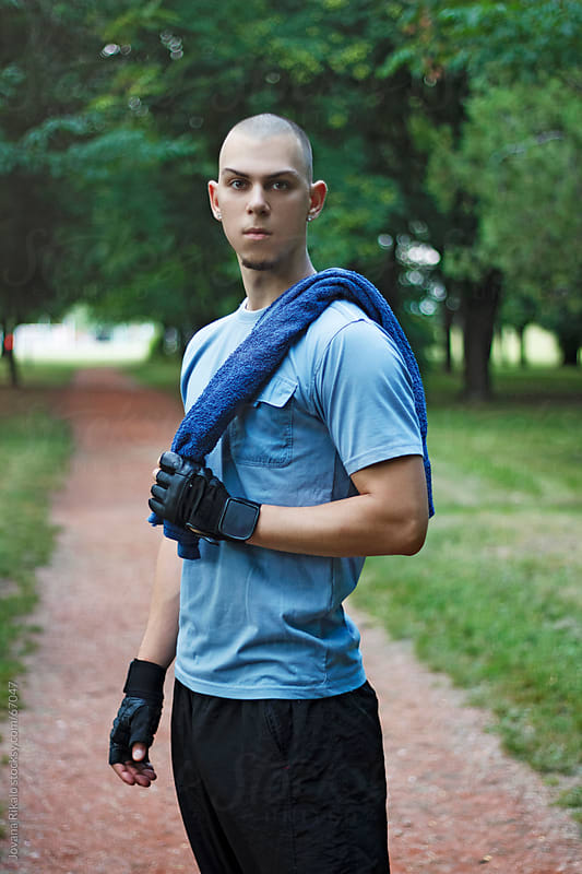 Man exercise outside by Jovana Rikalo for Stocksy United