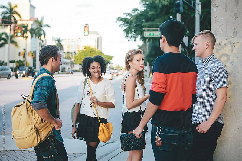 Young People Hanging Out Downtown by Stephen Morris for Stocksy United