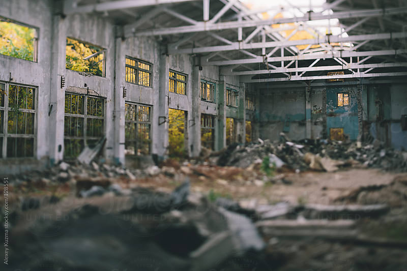 tilt-shift abandoned decay factory by Alexey Kuzma for Stocksy United