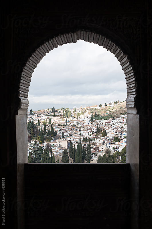 Views of the neighborhood of Albayzin from a window of the Alhambra by Bisual Studio for Stocksy United