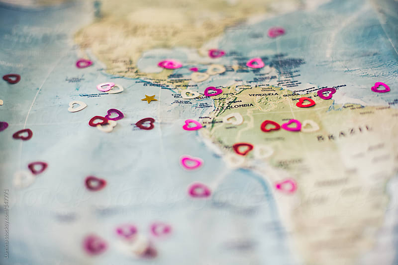 Hearts on a Map by Lumina for Stocksy United