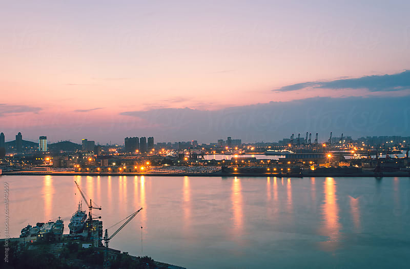 Port after sunset,China by zheng long for Stocksy United