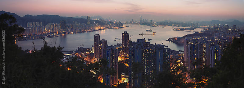 Night  view of Hong Kong  by Dejan Ristovski for Stocksy United