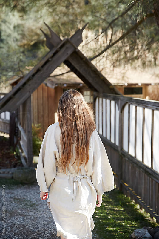Woman walking at Japanese Hot Springs by Trinette Reed for Stocksy United