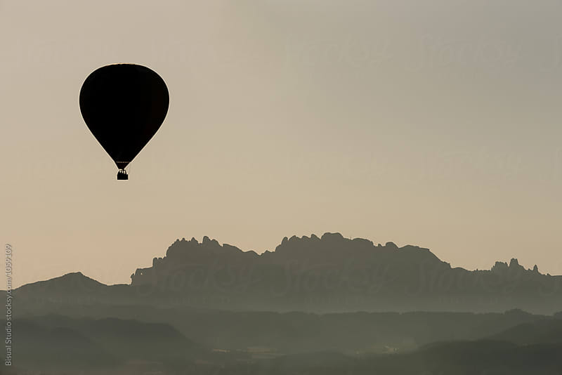 Hot air balloon in Montserrat, Catalonia by Bisual Studio for Stocksy United
