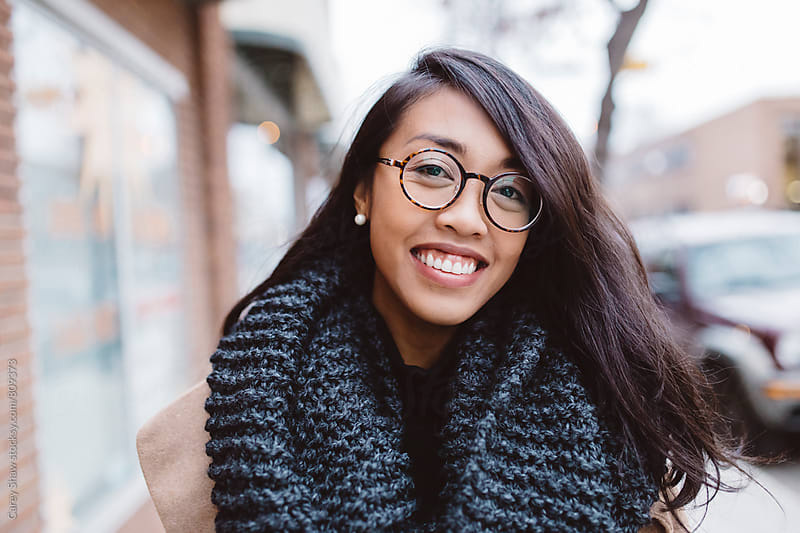 Smiling portrait of stylish urban woman by Carey Shaw for Stocksy United