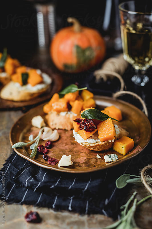 Pumpkin bruschetta by Tatjana Zlatkovic for Stocksy United