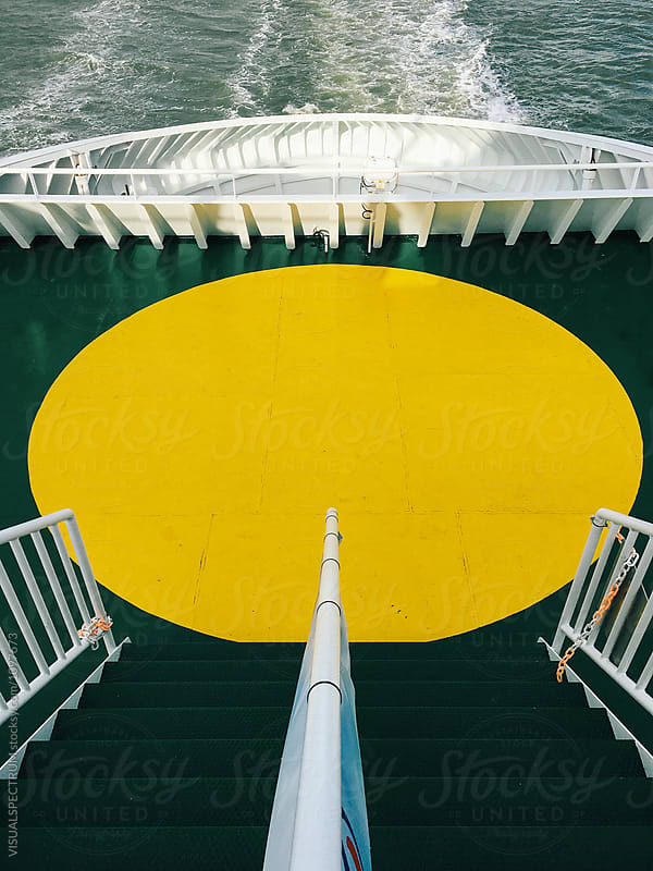 Yellow Circle on North Ship Ferry Deck by Julien L. Balmer for Stocksy United