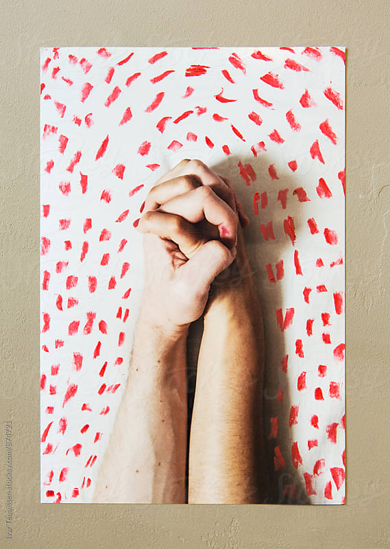 Entangled hands - printed photos with real paint markings by Ivar Teunissen for Stocksy United