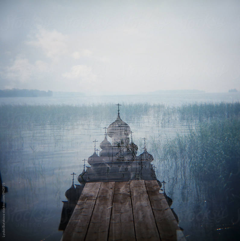 Double exposure shot with orthodox church by Lyuba Burakova for Stocksy United