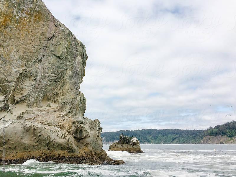 Closeup of a rock cliff in the ocean along Washington coast by Mihael Blikshteyn for Stocksy United