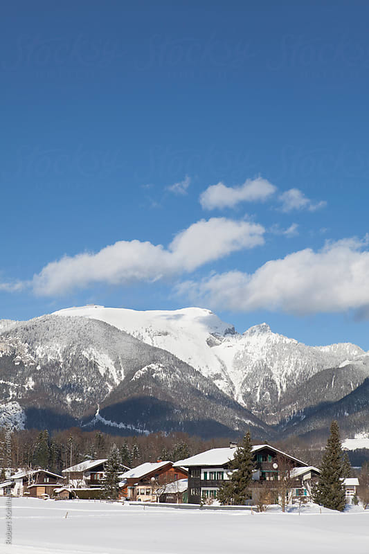 Winter landscape with mountain, near Salzburg, austria by Robert Kohlhuber for Stocksy United