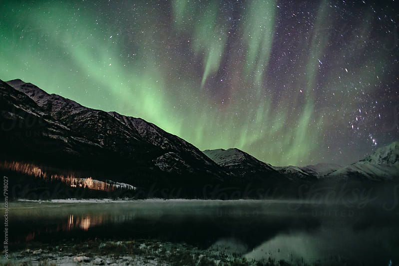 Northern Lights Night Show by Jovell Rennie for Stocksy United