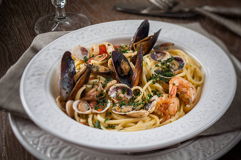 Seafood Spaghetti. by Davide Illini for Stocksy United