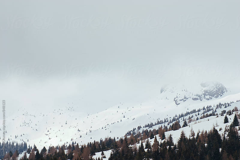 French Alps Covered in Snow and Fog by Nemanja Glumac for Stocksy United