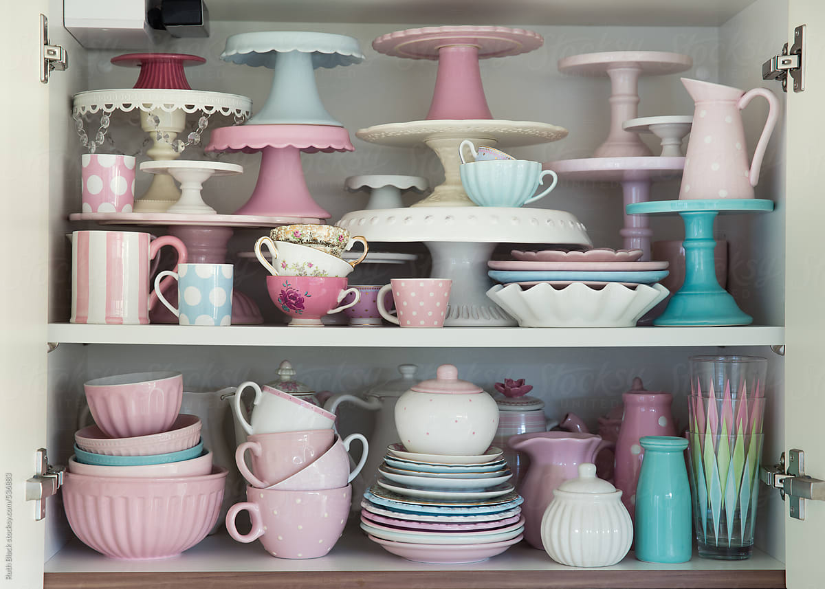 Kitchen Cupboard Filled With Crockery By Ruth Black Crockery Collection