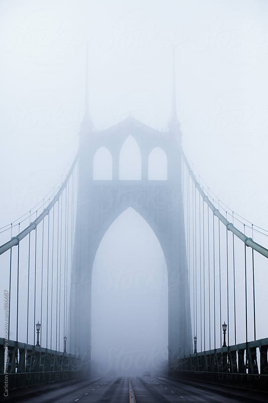 St Johns Bridge on a foggy day in Portland Oregon by Carleton Photography for Stocksy United