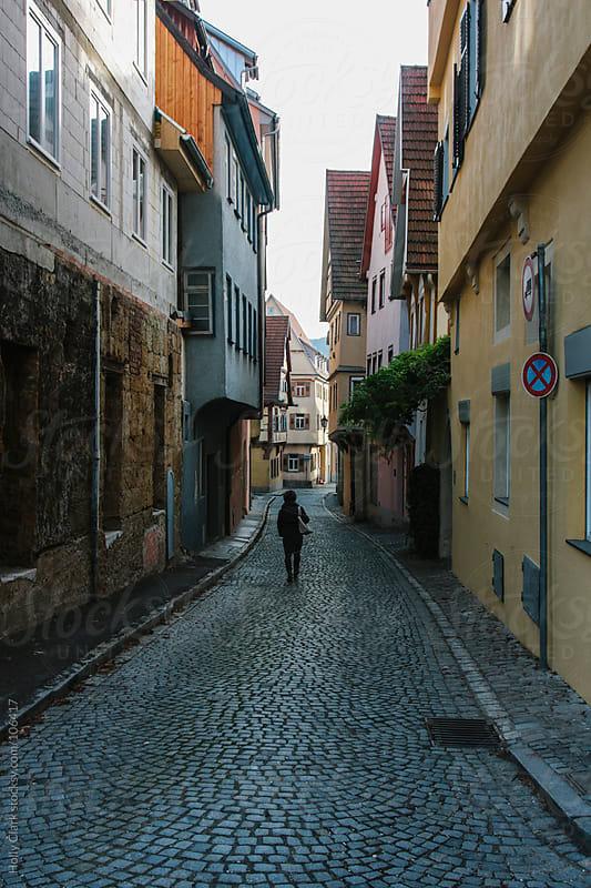A cobblestone street in an old German city, Esslingen,  Baden-Württemberg by Holly Clark for Stocksy United