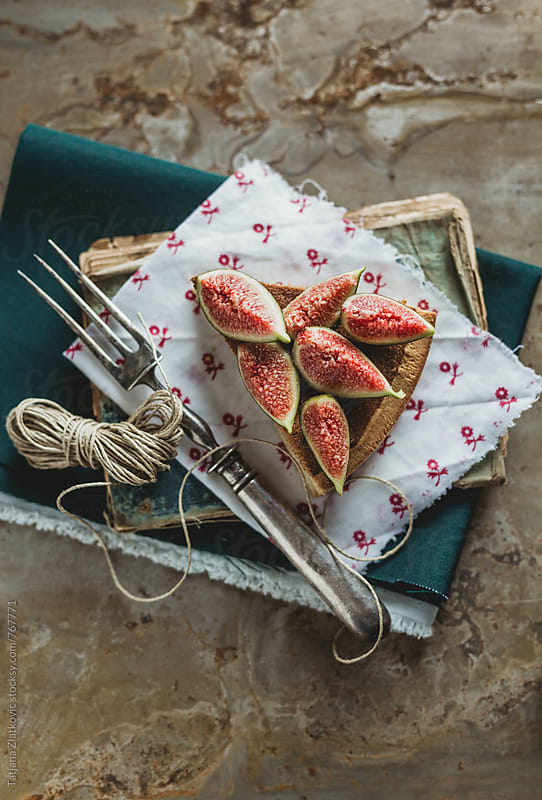 Fig tart with honey by Tatjana Ristanic for Stocksy United