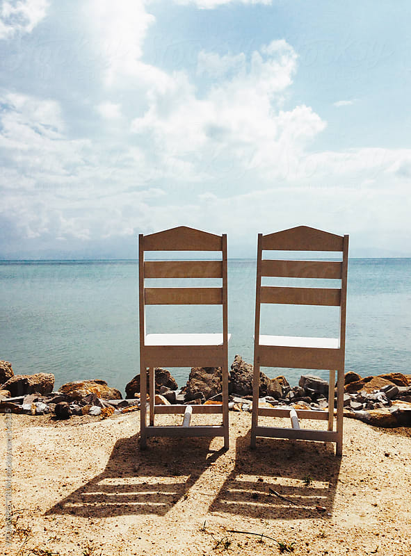 Two Empty Chairs On Beach by VISUALSPECTRUM for Stocksy United