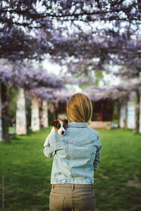 Young blonde woman with a puppy against a lavender porch during spring by GIC for Stocksy United