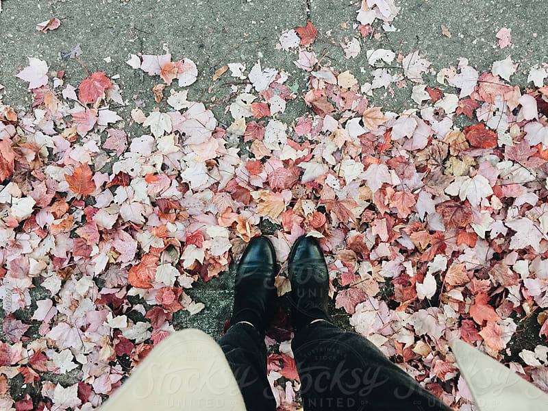 Black boots standing in colorful leaves by KATIE + JOE for Stocksy United