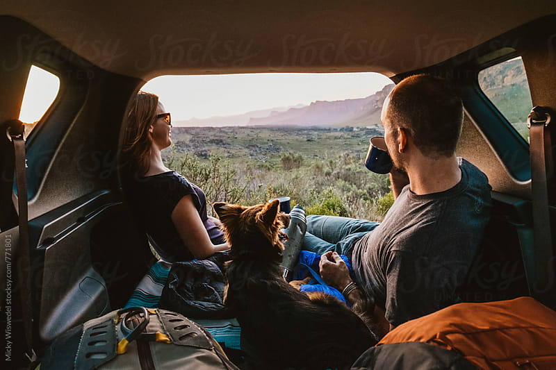 Couple with dog camped in the back of their car enjoying the view by Micky Wiswedel for Stocksy United