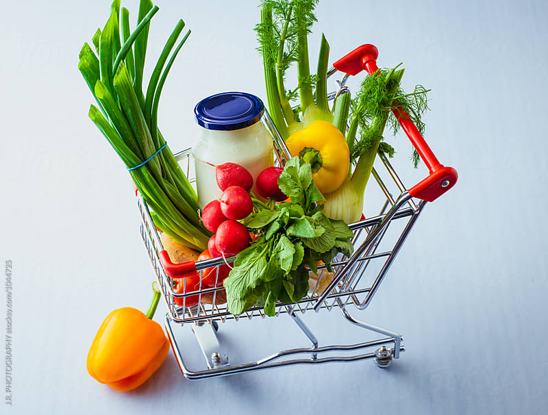 Vegetables in a shopping cart by J.R. PHOTOGRAPHY for Stocksy United