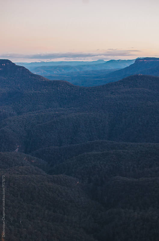 Blue Mountains at dusk  by Dominique Chapman for Stocksy United