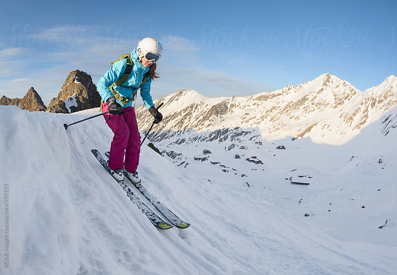 Female free skier riding outdoor by RG&B Images for Stocksy United