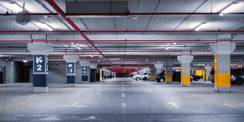 Underground garage-parking in perspective.  by Marko Milanovic for Stocksy United