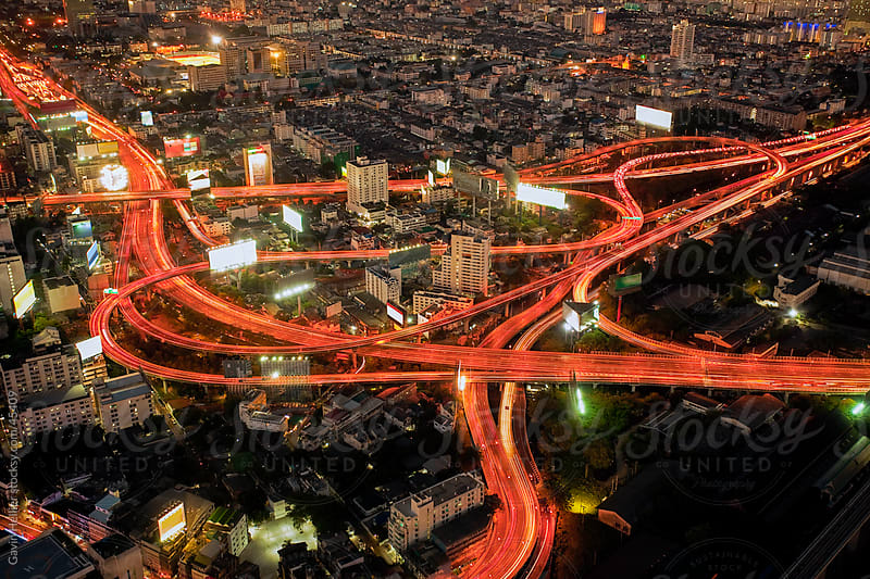 Elevated view over the busy road system in Bangkok, Thailand, South East Asia by Gavin Hellier for Stocksy United