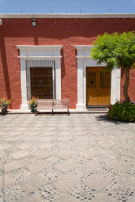 Travel: patio of a spanish colonial building in Arequipa, Peru by Ben Ryan for Stocksy United