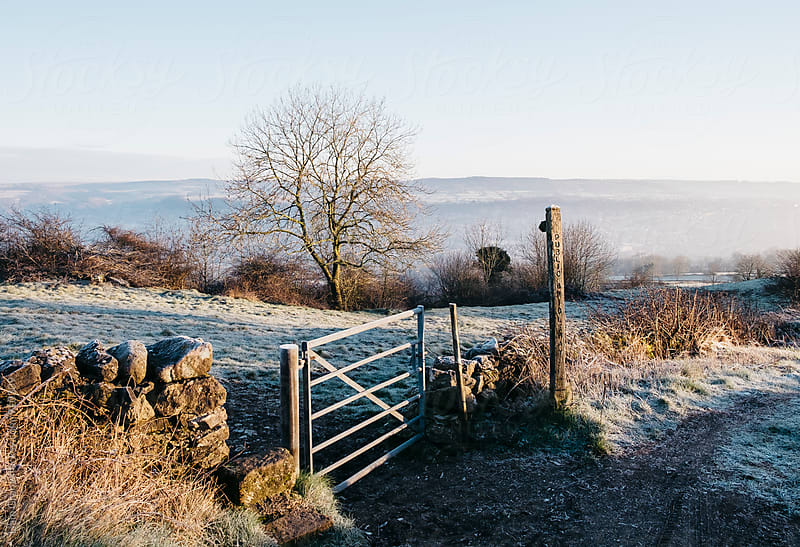 Public footpath sign on a frosty morning. Derbyshire, UK. by Liam Grant for Stocksy United