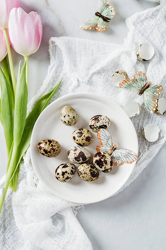 Quail eggs with tulips and butterflies by Tatjana Ristanic for Stocksy United