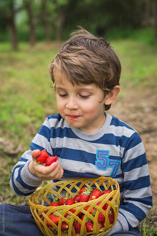 Boy eating strawberry by Dejan Ristovski for Stocksy United