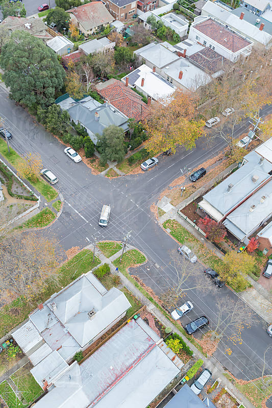 'Overhead view of suburban street intersection by Ben Ryan for Stocksy United