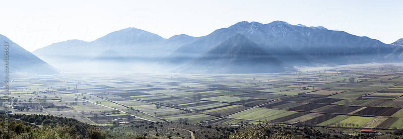 Panorama Landscape of Mountains and Fields by Helen Sotiriadis for Stocksy United