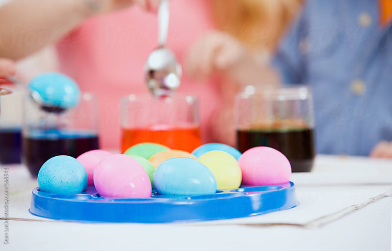 Easter: Tray Of Colored Easter Eggs by Sean Locke for Stocksy United
