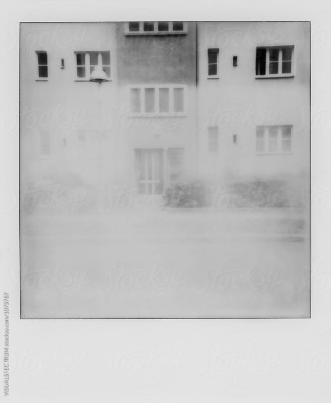Retro Black and White Polaroid of Old-Fashioned Building Exterior by Julien L. Balmer for Stocksy United