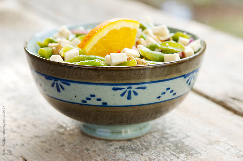 Green Bean and Walnut Salad with Soy Cheese Pieces by Harald Walker for Stocksy United