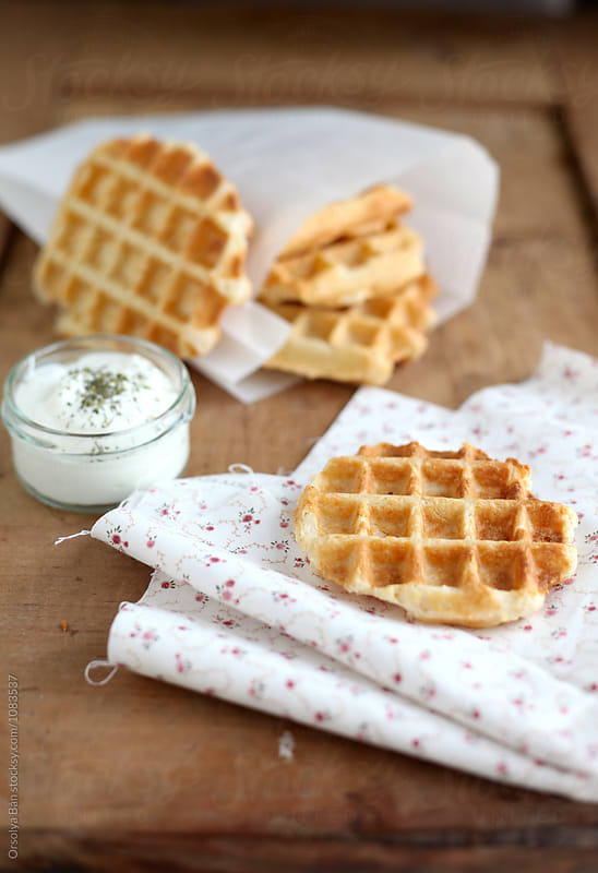 Cheese waffles by Orsolya Bán for Stocksy United