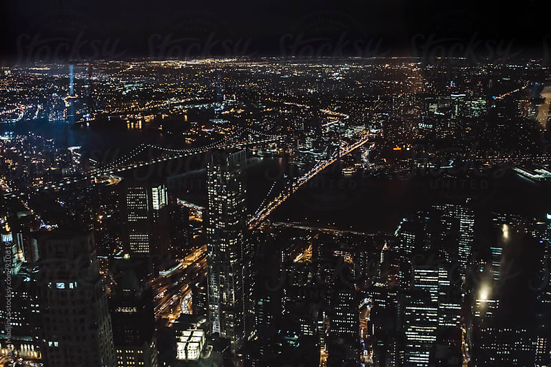 Bridges, Night cityscape,view from 102 floor on the New York streets and buildings by Igor Madjinca for Stocksy United