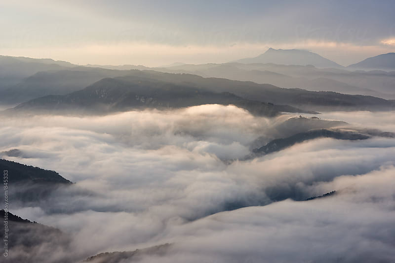 Foggy valley views from Tavertet, Catalonia, Spain by Guille Faingold for Stocksy United