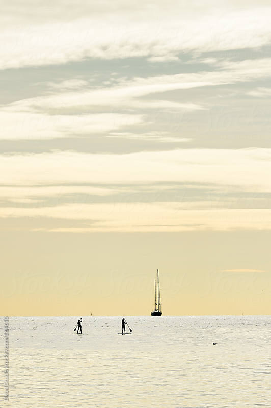 Silhouette of two women practicing paddle surf in Barcelona  by Bisual Studio for Stocksy United