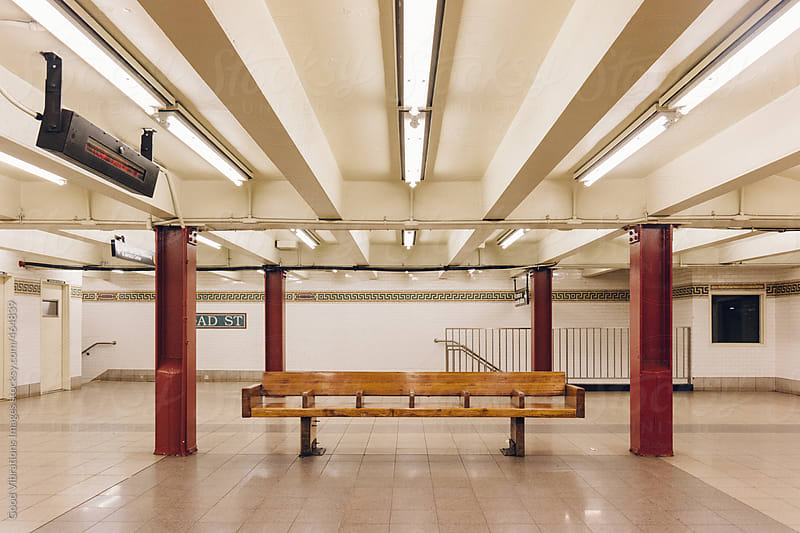 Empty Bench in a Subway station in New York City by Good Vibrations Images for Stocksy United